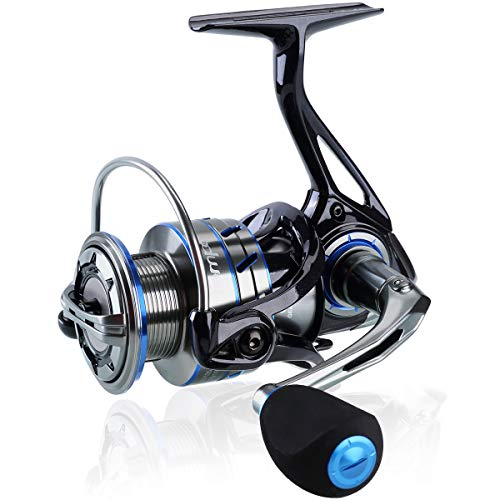 TEMPO Apex Spinning Reel, Ultralight Premium Magnesium Body, Super Smooth Fishing Reel with 10 + 1 BB, Powerful and Durable Reel with Strong 39lb Max Carbon Fiber Drag, Blue, apex 4000