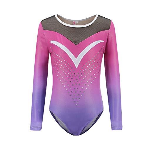 ESHOO Turnanzug für Mädchen Gymnastik Leotard Kleinkind Diamond Gradient Trikotanzug Ballettanzug Body Tops 5-14 Jahre