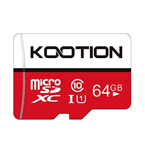 Kootion Speicherkarte 64GB Class 10 Micro SD Karte Mini SD Karte 64G MicroSDXC Card Memory Karte A1 U1 UHS-I Micro SD Card Klasse 10 Speicher SD Karte MicroSD Karte für Kameras Handy Tablets Android