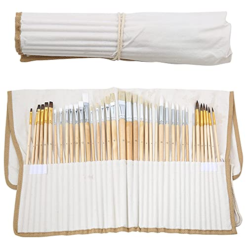 JOCMOON 38 Pcs Artist Paint Brush Set for Acrylic, Watercolor, Gouache, Oil and Fabric-Includes Round and Flat Art Brushes with Hog, Pony, and Nylon Hair Bristles-with a Organizing Case
