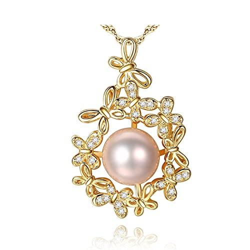 xu Elegante y Exquisito Collar de Perlas de Agua Dulce de Plata de Ley chapada en Oro de 18k