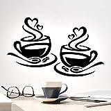 Tazas de café Pegatinas de pared Tazas de cocina Decoración de pared Divertido myg Love Decal Té Cafe, Vinilos de vinilo Diciendo cita, Tazas de taza caliente extraíble Pegatina Beber Espresso