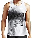 Fanient Camiseta sin Mangas para Hombre Casual 3D Impreso Lobo Patrones Camisetas gráficas...