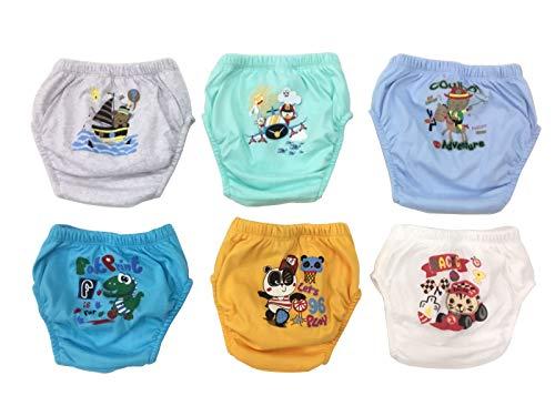 OZYOL Trainerhosen für Tröpfchentraining 6er Pack - Wiederverwendbare Kleinkinder Windelhosen Lernwindeln Trainerwindeln Baby Unterwäsche zum Sauberwerden Toilettentraining (Fun Jungs, 110)
