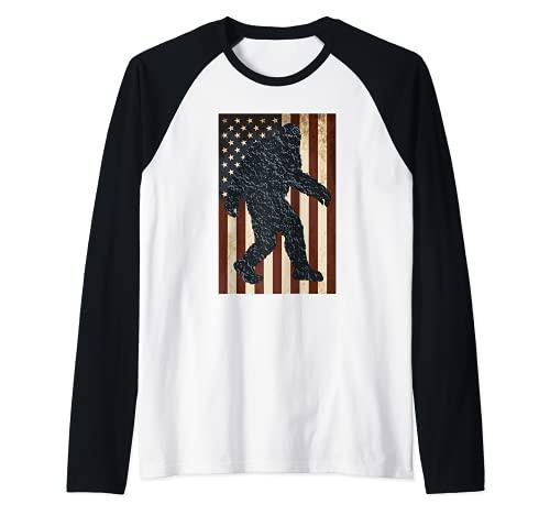 Vintage Bandera Americana Bigfoot Camiseta Manga Raglan