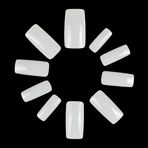 ECBASKET Full Cover False Nails Artificial Nails Fake Nails 500Pcs Full Coverage Acrylic Nails 10 Sizes With Bags (NATURAL)