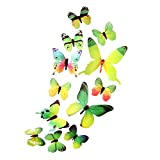 Trada 12 transparente Schmetterlingsanzüge Aufkleber, 3D DIY Wandaufkleber Aufkleber Schmetterling Home Decor Zimmer Dekorationen Neu Punkte zum Kleben Wandtattoo Sticker Wanddeko (Green)
