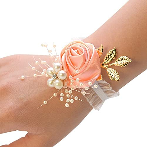 XKMY Wedding Bride Wrist Corsage Dyed Silk Rose with Pearl Accessories Bridesmaid Girl Bracelet Pearl DIY Wrist Flower (Color : 15)