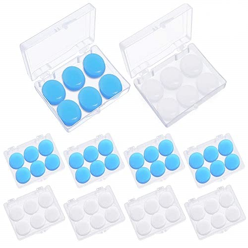 24 Pairs Soft Silicone Ear Plugs Putty Ear Plugs for Sleeping Swimming earplugs for Kids Adults, Transparent + Blue