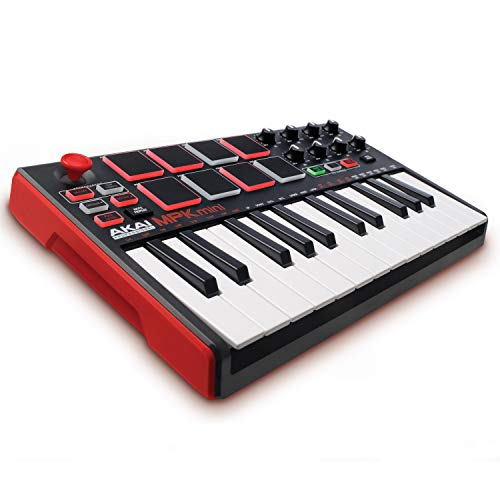 AKAI Professional MPK Mini MKII - Portables 25-Tasten-USB-MIDI-Keyboard Controller mit 16 hintergrundbeleuchteten Pads, 8 zuweisbaren Q-Link-Reglern und 4-Wege-Joystick