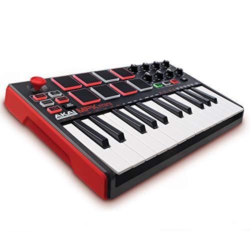 AKAI Professional MPK Mini MKII - Tastiera MIDI Controller USB con 25 Tasti, 8 PAD, Potenziometri e Joystick + VIP 3 e Pacchetto di Software Inclusi