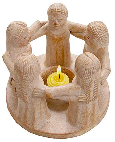 Woru Kreis der Freundschaft mit 5 Frauen, original Handarbeit aus Bali, Teelichthalter, Kerzenhalter