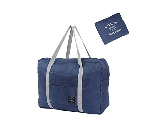 Foldable Travel Duffel Bag Luggage Sports Gym Water Resistant Nylon Multipurpose for Clothes Organizer (Blue)