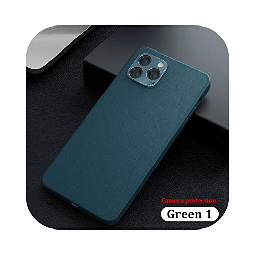 Funda de piel sintética de lujo para iPhone 12 11 Pro Max Mini XR carcasa de metal lente protector para iPhone SE 2020 XS X 7 8 Plus Cover-Verde 1-para iPhone SE 2020