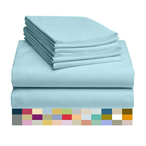 LuxClub 6 PC Sheet Set Bamboo Sheets Deep Pockets 18' Eco Friendly Wrinkle Free Sheets Hypoallergenic Anti-Bacteria Machine Washable Hotel Bedding Silky Soft - Aqua King