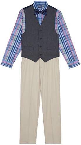 IZOD Boys Little 4 Piece Set with Dress Shirt Bow Tie Pants and Vest Kaftan Pink 6 product image