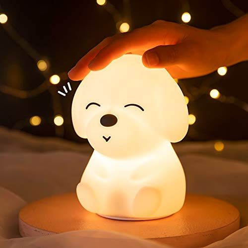 Night Light for Kids Cute Night Light - Kawaii Dog Puppy Silicone Baby Nightlight for Children, Baby and Toddler, Perfect Holiday Gift Guide Idea for Birthday, Christmas (with Timer)
