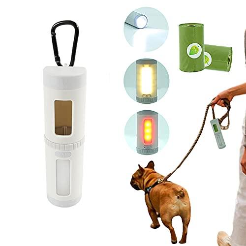 NIUBICLAS Dispensador de bolsas de caca para perros con linterna LED para limpieza de desechos de basura con bolsa de recogida para cachorros y bolsas para mascotas para perros