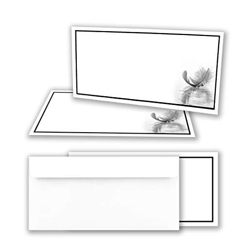 50x Trauerkarten Set mit Umschlag DIN LANG - Motiv schwarzer Trauer-Rahmen mit Feder - Danksagungskarten Trauer Ohne Fenster - würdevolle Beileidskarte