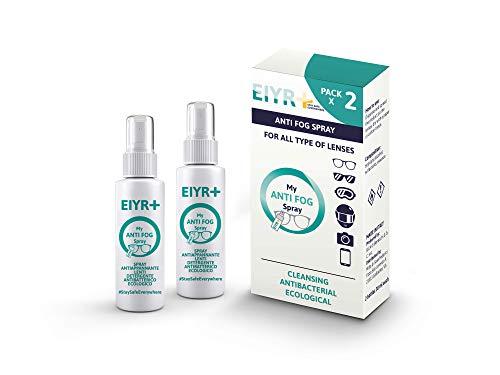Eiyr+ Spray Detergente Antibatterico Antiappannamento Antifog Spray Pulisci Lenti per Occhiali da Vista Sole Occhialini Maschera Nuoto Casco Moto Vetri Auto Antiappannante No Fog Free Liquido 30ml x2