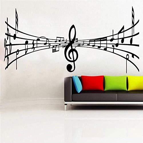 Pegatinas de pared notas musicales instrumentos musicales calcomanías de pared murales de decoración del hogar amantes de la música decoración de arte vinilo extraíble 60X120CM