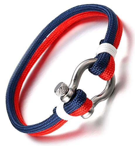 Halukakah  Vela  Hombres Cuerda de Cuerda de Nylon Pulsera Multicapa Azul Mezcla Rojo Hecho a Mano Cierre de Tornillo Plata 8.26'/21cm con CajaDeRegaloGRATIS