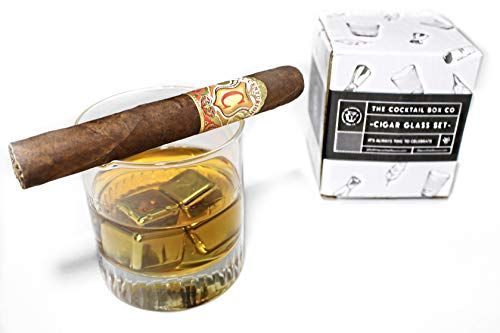 The Cocktail Box Co. - Juego de vasos de whisky de cóctel con reposo para cigarros | 2 piedras de whisky de acero inoxidable y bolsa de transporte de terciopelo.