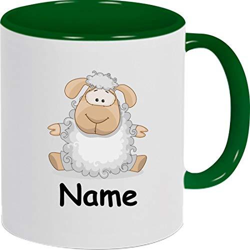 Shirtinstyle Kindertasse, Teetasse, Tasse, Schaf mit Wunschnamen, Wunschtext, Spruch, Kinder, Tiere, Natur, Kaffeetasse, Pott, Becher, Farbe Gruen