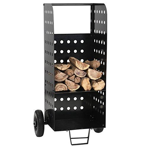 Jago Carrello portalegna con 2 ruote di ferro capacità di carico fino 100 kg