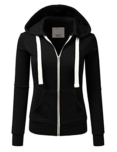 Doublju Lightweight Thin Zip-Up Hoodie Jacket for Women with Plus Size Black Large
