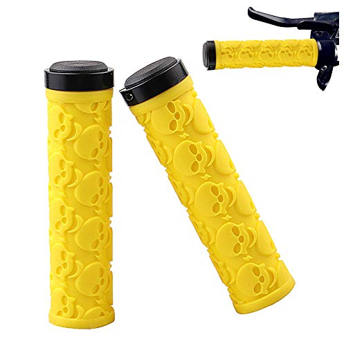 Jiahe Handlebar Flat Grips with Single Lock-on, Non-Slip Rubber Cycling Grip tor Scooter Mountain MTB Road Folding Bike, Best for Bear Hands (Yellow)