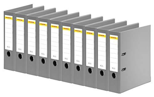 SCHÄFER SHOP Ordner A4 breit – Ringbuch Aktenordner Büroordner Kunststoffordner - Made in Germany - grau, 80 mm, 10er Pack