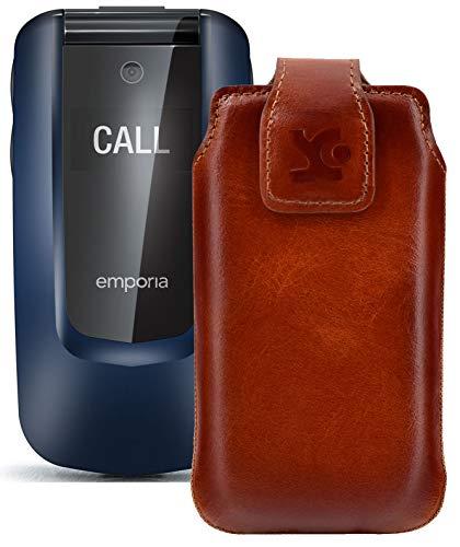 Suncase Original Tasche kompatibel mit Emporia Comfort Hülle Leder Etui Handytasche Ledertasche Schutzhülle Hülle in Burned Cognac