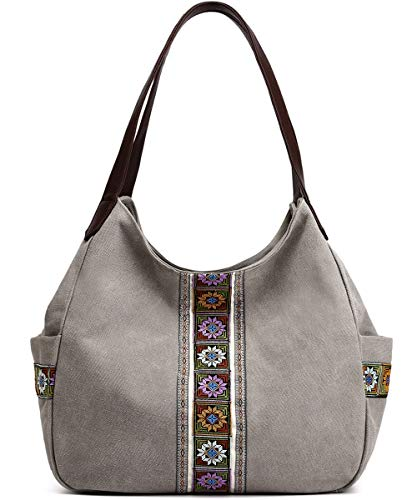 Worldlyda Women Canvas Hobo Purse Multi Pocket Tote Shopper Shoulder Bag Casual Top Handle handbag with Embroidery Ethnic (Upgraded Light Grey)