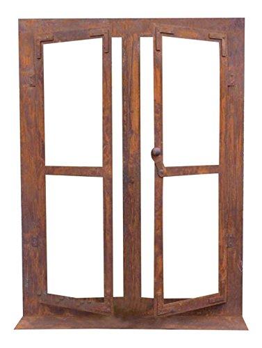 Deko-Fenster Eisen Rost auf Platte 80 x 60 cm, beide Fensterflügel sind zum Öffnen