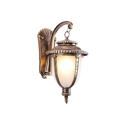 KLYHCHN Wall Lamp Plug-in Industry Retro Era Waterproof with Glass Lampshade Pure Aluminum Wall Lights Outdoor Gooseneck Lantern Facing Dressing Table with Bedside Reading Lamp (Black)