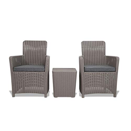 Trueshopping Outdoor Rattan Effect Storage Box Side Table & 2 Chairs Set Weatherproof Garden Furniture Bistro Set for Garden, Patio, Decking, Balcony or Conservatory