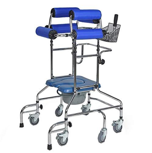 Rollator Walker wandelhulp met commodestoel voor het trainen van de onderste ledematen, 6 wielen anti-val-design