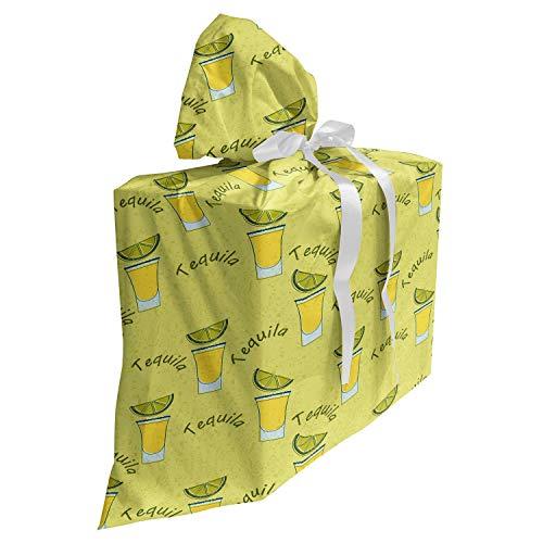 ABAKUHAUS Tequila Cadeautas voor Baby Shower Feestje, Shot Glazen en Plak van de kalk, Herbruikbare Stoffen Tas met 3 Linten, 70 cm x 80 cm, Khaki Olive Green