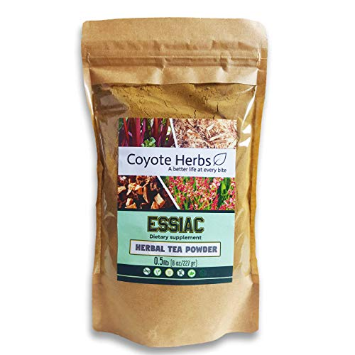 Essiac tea powder - herbal detox drink, organic (uncertified) herbal tea mix from 4 herbs - slippery elm, burdock root , milk thistle & rhubarb -0.5lb (227gr.)