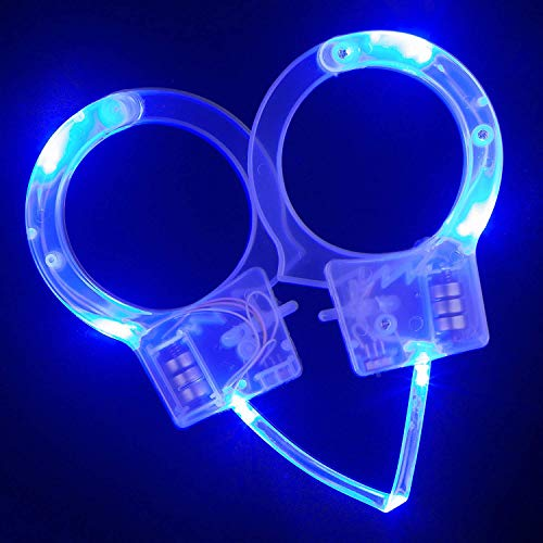 Fun Central LED Light Up Police Handcuff Toys for Kids' Halloween Costume Accessory - Blue