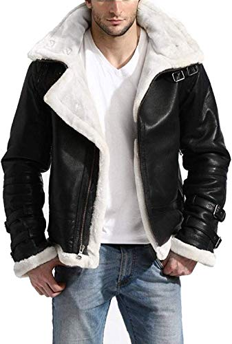B3 Aviator White Fur Faux Shearling Hooded Black Bomber Leather Jacket Men with Removable Hoodie