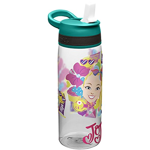 Zak Designs Jojo Siwa Kids Water Bottle with Straw and Built in Carrying Loop, Durable Water Bottle Has Wide Mouth and Break Resistant Design is Perfect for Kids Girls (25oz, Green, Plastic, BPA Free)