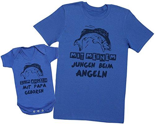 Zarlivia Clothing Zum Angeln mit Papa geboren - Passende Vater Baby Geschenkset - Herren T-Shirt & Baby Strampler/Baby Body - Blau - L & 0-3 Monate
