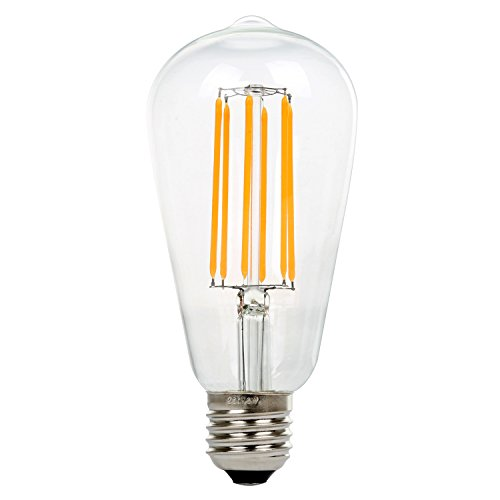 St64 8W Vintage Lámpara de Techo, Retro Bombilla de Filament Led Bulbo, Nationalmater Estilo de Edison Bombilla, E27 Base, 500 Lúmenes, Blanco Cálido 2200K, Equivalente a 60W Bombilla Incandescente