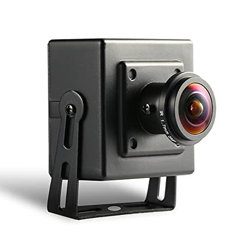Revotech Mini Fisheye PoE Cámara IP, HD 3MP Cámara de Seguridad para Interiores ONVIF Lente de 1.7mm 170 Grados Gran Angular P2P Vista Remota CCTV Video CAM H.265 (I706-3-P Negro)