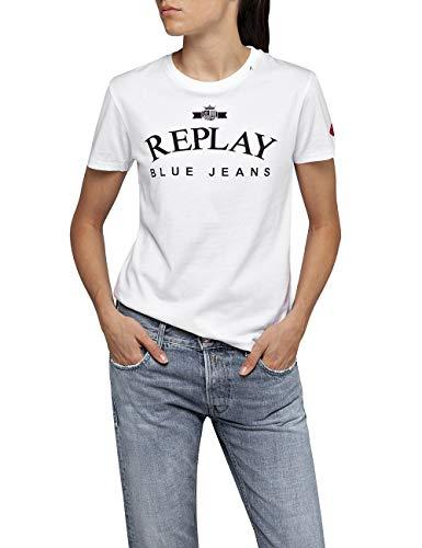 Replay Damen W3310 .000.20994 T-Shirt, Weiß (Optical White 1), Small (Herstellergröße: S)