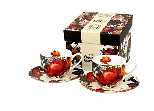 DUO Colección Secret Garden - Juego de 2 tazas de espresso con platillos de porcelana china de New Bone en caja de regalo, 110 ml