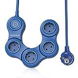 VASTFAFA Regleta Enchufes de 4 Tomas Corrientes 3680W/16A, Rotativo Cargador USB Multipuerto con Protección contra Sobrecargas y Interruptores Power Strip (1,5M Azul)