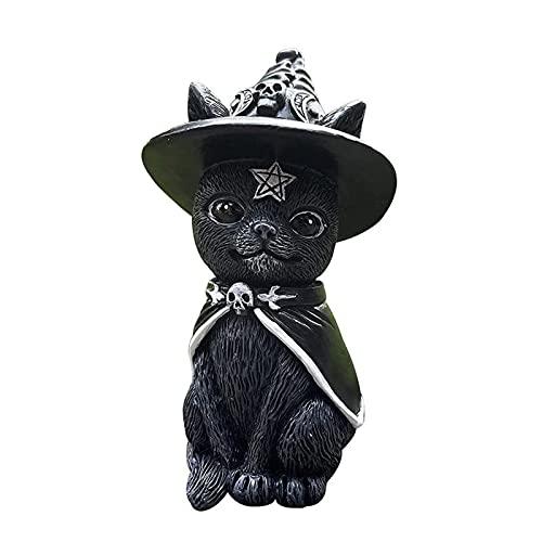 Yokbeer Decoraciones de Gato Negro de Halloween para Exteriores, Interior, Césped, Resina, Gato con Sombrero de Bruja, Alas, Adorno de Escritorio, Divertida Estatua de Jardín Al Aire Libre, Estatuilla